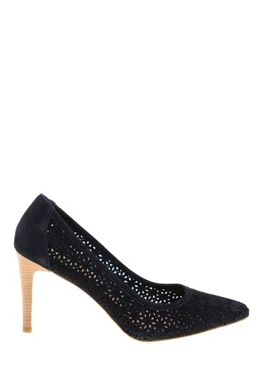Divarese Desenli Süet Stiletto Ayakkabı Lacivert